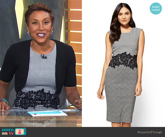 Lace-Accent Sheath Dress - 7th Avenue by New York & Company worn by Robin Roberts on Good Morning America