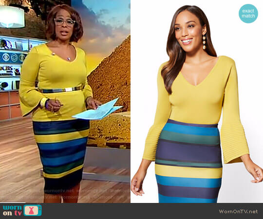 Bell Sleeve Sweater Pull On Pencil Skirt by New York & Company worn by Gayle King on CBS This Morning
