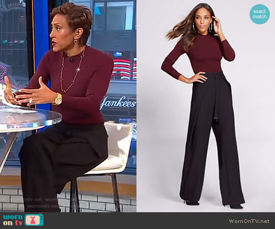 Mock Neck Sweater Bodysuit Wrap Pants by New York & Company worn by Robin Roberts (Robin Roberts) on Good Morning America