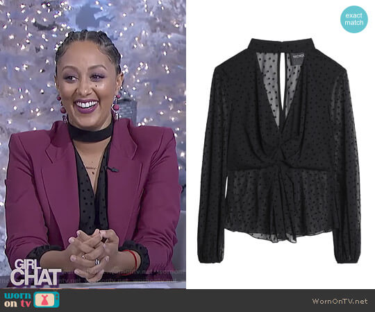 Long Sleeved Mesh Top by Nicholas worn by Tamera Mowry  on The Real