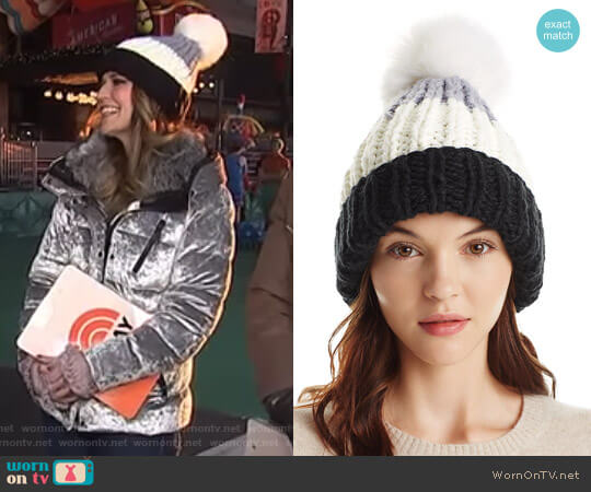 Color Block Pom-Pom Beanie by Nor La worn by Savannah Guthrie on Today