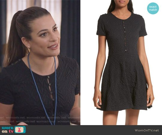 Desert Jacquard Flare Dress by Opening Ceremony worn by Lea Michele on The Mayor