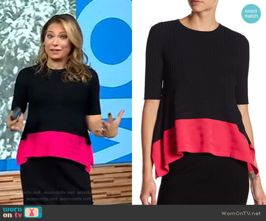 Linear Delta Colorblock Blouse by Opening Ceremony worn by Ginger Zee  on Good Morning America