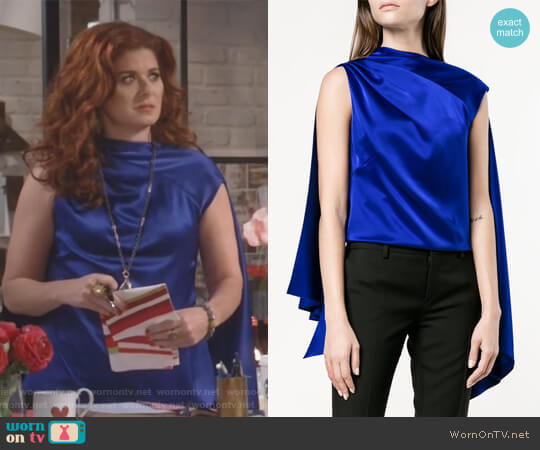 Adena Sleeveless Scarf Top by OSMAN worn by Debra Messing on Will & Grace