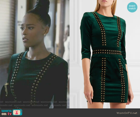 Embellished stretch cotton-blend velvet mini dress by Pierre Balmain worn by Serayah McNeill on Empire