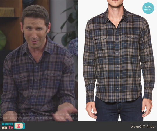 Everett Shirt Blue Ashes Lance Plaid by Paige worn by Josh Roberts (Mark Feuerstein) on 9JKL