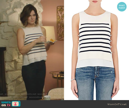 Wool-Blend Knit Layered Shell by 3.1 Phillip Lim worn by Heather Hughes (Betsy Brandt) on Life in Pieces
