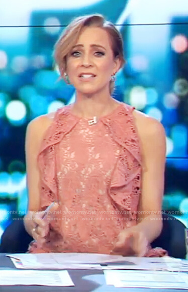 Carrie's pink lace ruffle top on The Project