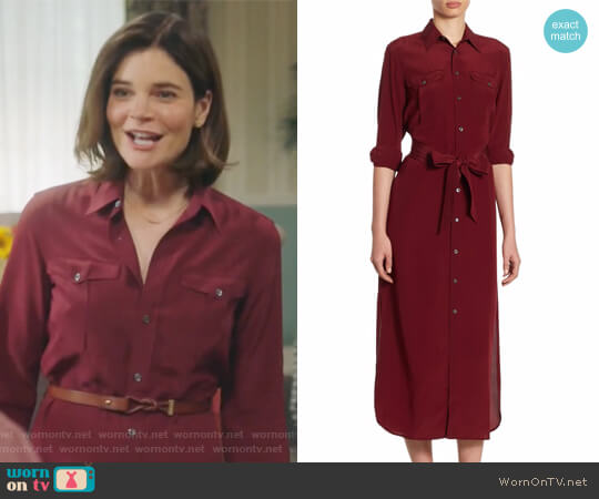 Silk Crepe Shirtdress by Polo Ralph Lauren worn by Betsy Brandt on Life in Pieces