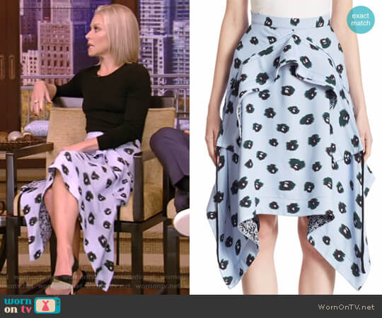 Draped Printed Skirt by Proenza Schouler worn by Kelly Ripa (Kelly Ripa) on Live with Kelly & Ryan