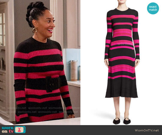 Proenza Schouler Stripe Cashmere, Wool & Silk Midi Dress worn by Rainbow Johnson (Tracee Ellis Ross) on Blackish