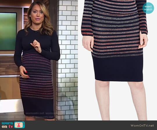Space-Dyed Striped Pencil Skirt by RACHEL Rachel Roy worn by Ginger Zee (Ginger Zee) on Good Morning America