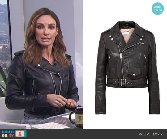 Moto Racer distressed leather biker jacket by Re/Done worn by Catt Sadler on E! News