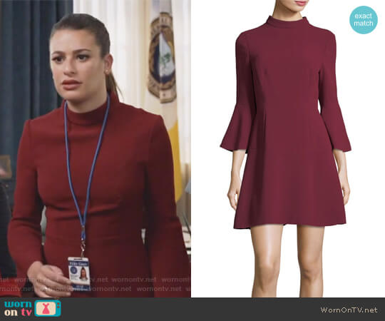 Califa Mock-Neck Bell-Sleeve Crepe Mini Dress by Rachel Zoe worn by Lea Michele on The Mayor
