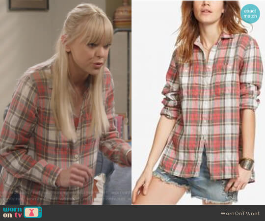 Plaid Utility Shirt in Red Multi by Ralph Lauren Denim & Supply worn by Anna Faris on Mom