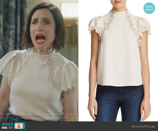 Lace-Inset Top by Rebecca Taylor worn by Jennifer Short (Zoe Lister-Jones) on Life in Pieces