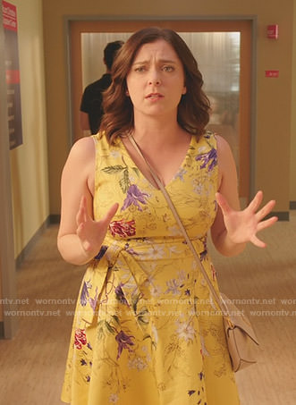 Rebecca's yellow floral v-neck dress on Crazy Ex-Girlfriend