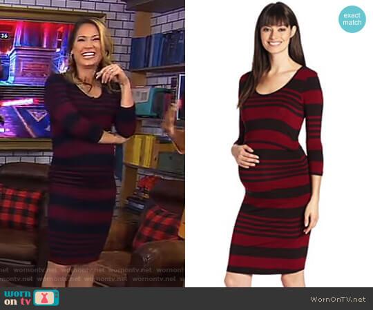 Stripe Nursing Tube Wine Maternity Dress by Ripe Maternity worn by Ginger Zee  on Good Morning America