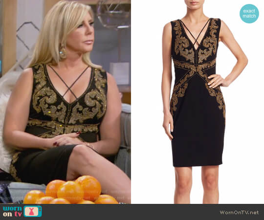 Beaded V-Neck Dress by Roberto Cavalli worn by Vicki Gunvalson on The Real Housewives of Orange County