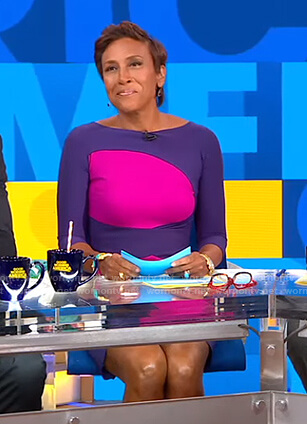 Robin's purple and pink colorblock dress on Good Morning America