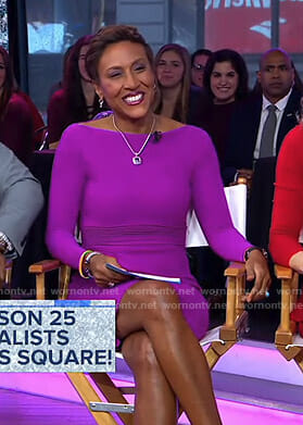 Robin's purple long sleeve stretch dress on Good Morning America