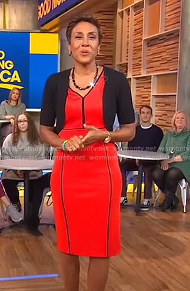Robin's red piped dress on Good Morning America