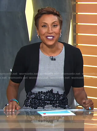 Robin's houndtooth lace waist dress on Good Morning America