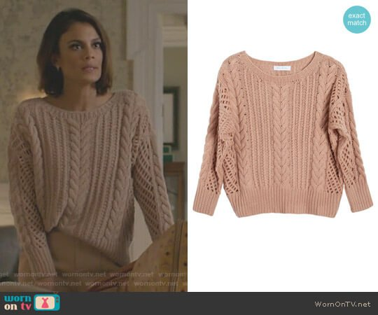 Cashmere Fisherman's Sweater by Ryan Roche worn by Nathalie Kelley on Dynasty