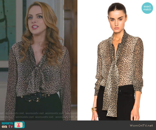 Georgette Babycat Blouse by Saint Laurent worn by Fallon Carrington (Elizabeth Gillies) on Dynasty
