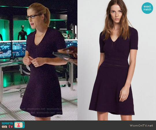 Sandro Betsy Dress worn by Felicity Smoak (Emily Bett Rickards) on Arrow
