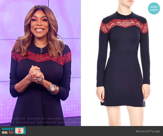 Jaisy Lace Inset A-Line Dress by Sandro worn by Wendy Williams on The Wendy Williams Show