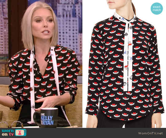 'Maika' Shirt by Sandro worn by Kelly Ripa  on Live with Kelly & Ryan