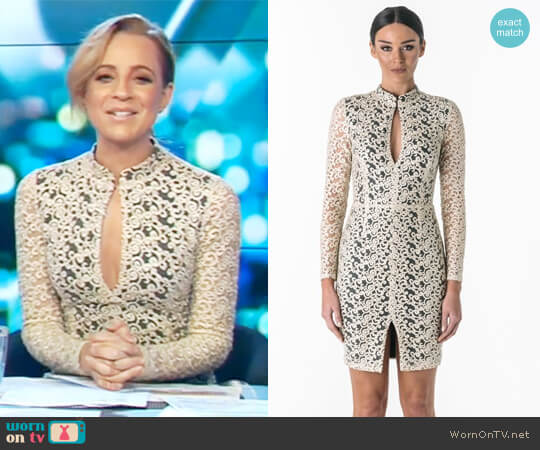 Aurora Embroidered Keyhole Dress by Santina Nicole worn by Carrie Bickmore  on The Project