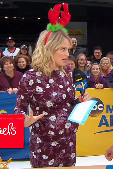 Sara's purple floral long sleeve dress on Good Morning America