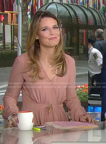 Savannah's pink long sleeved v-neck dress on Today