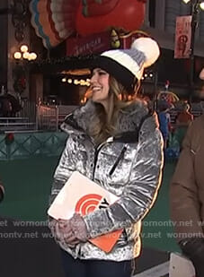 Savannah's silver velvet down jacket on Today