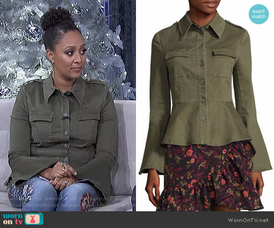 Military Peplum Jacket by Scripted worn by Tamera Mowry on The Real