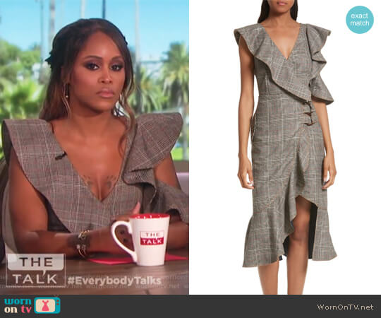 Check Wool Faux Wrap Dress by Self Portrait worn by Eve on The Talk