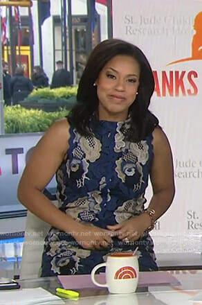 Sheinelle's blue floral embroidered lace dress on Today