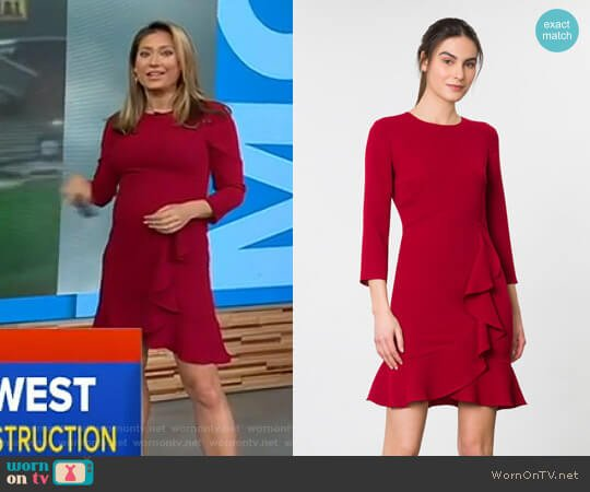 Stretch Crepe Leanach Dress by Shoshanna worn by Ginger Zee (Ginger Zee) on Good Morning America