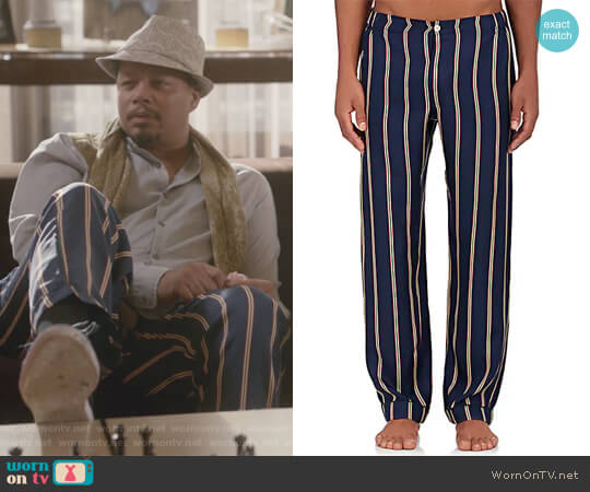 Marcel Silk Pajama Pants by Sleepy Jones worn by Lucious Lyon (Terrence Howard) on Empire