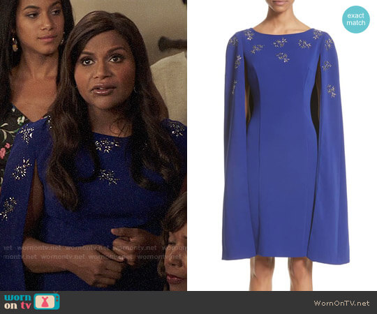 St John Collection Embellished Classic Stretch Cady Cape Dress worn by Mindy Lahiri (Mindy Kaling) on The Mindy Project