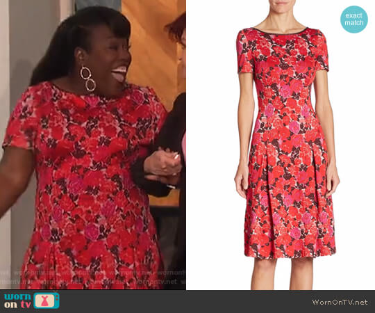 Floral-Print Boatneck Dress by St. John worn by Sheryl Underwood on The Talk