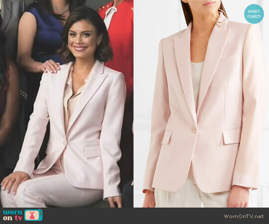 'Ingrid' blazer by Stella McCartney worn by Nathalie Kelley on Dynasty