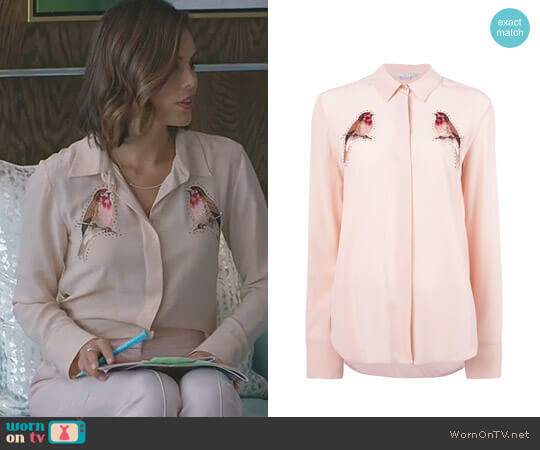Embroidered Robin Crystal Shirt by Stella McCartney worn by Cristal Flores (Nathalie Kelley) on Dynasty