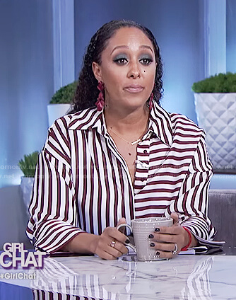 Tamera's striped satin top on The Real
