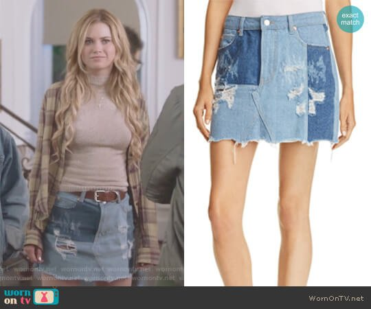 Patched Denim Skirt by Sunset & Spring worn by Virginia Gardner on Marvels Runaways