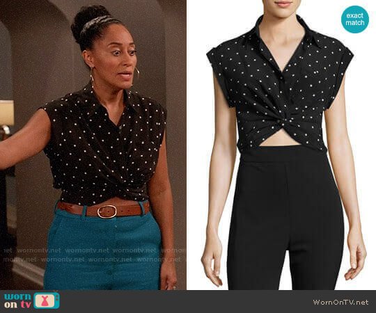 T by Alexander Wang Printed Twist-Front Silk Top worn by Tracee Ellis Ross on Blackish
