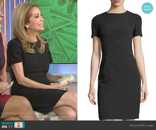 Pinstripe Crisscross Short-Sleeve Dress by Tahari ASL worn by Kathie Lee Gifford on Today