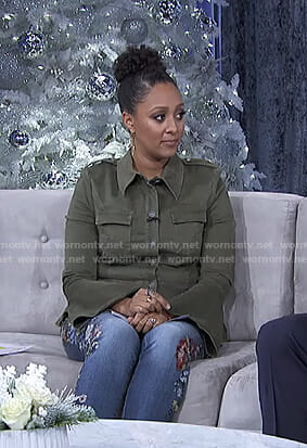 Tamera's green bell sleeve military jacket and floral embroidered jeans on The Real